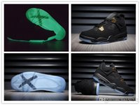 ingrosso air mesh fabric usa-Nike Air Jordan Retro Shoes Nuovo all'ingrosso 4 IV scarpe da basket in oro nero Glow In The Dark Sneakers in pelle scamosciata di alta qualità USA 7 13