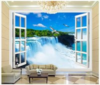 outdoor decor moulding - High end Custom d photo wallpaper murals wall paper D windows outdoors landscape waterfall background wall bedroom wallpaper decor