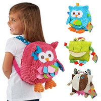 Wholesale Character Soft Toys - New Cute Cartoon Soft Owl Monkey Animals backpack Toy for Children schoolbag plush hasp baby bags