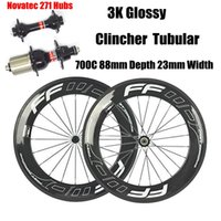 3K Glossy FFWD Full Wheels Wheeler Clincher Tubular 88mm Con Novatec 271/372 Hub 20/24 Black Specchi Black Nipples Carbon Wheelset