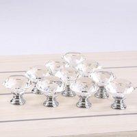 kristall griffe küchenschrank knöpfe großhandel-30mm Diamant Form Kristallglas Cabinet Handle Knob Schrank Drawer Knob Pull Shiny Chrom poliert Für Home Kitchen Drawer 8E