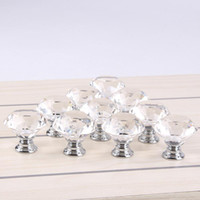 Wholesale 30mm Diamond Shape Crystal Glass Cabinet Handle Knob Cupboard Drawer Knob Pull Shiny Polished Chrome For Home Kitchen Drawer E