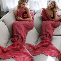 Atacado- Nova Mermaid Tail Blanket Adult Throw Bed Wrap Soft Sleeping Bag Casual Crochet Mermaid Blanket