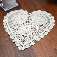 Wholesale doily hearts - Wholesale- LINKWELL 31x28cm Beige Heart Shape Lace Doilies Placemat Party Wedding Gift Decoration Doily Cotton 100% Decorative Ornament