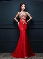 Wholesale Custom Silk Embroidery Tulle - Mermaid Evening Dresses New 2017 Red V-neck Halter Dazzling Crystal Beaded Sequin Lace Applique Prom Dress Sexy Long Party Dresses Plue Size