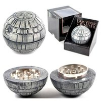 Wholesale Death Stars - New 3 piece Death star tobacco grinders 55mm 3 Layers herb grinder PokeBall Grinder Death Star Round Metal Grinder free shipping