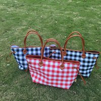 Wholesale black white check fabric - Buffalo Check Tote Wholesale Blanks White Red Plaid Purse Large Handbag with PU Handle and Magnetic Snap Closure Free Shipping DOM106377
