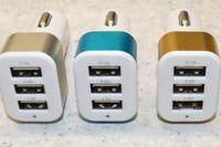 Wholesale Iphone4 Accessories - Wholesale- 1pcs New USB Car Charger 3.1A 3-port Blue Adapter Dual USB Charger For iphone4 5 6 iPod iPad Sumsung Accessories Part 5Color
