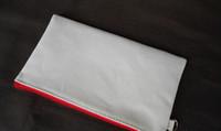 Wholesale Blank Zipper Bag - 12*20cm white cotton canvas cosmetic bags with key chain DIY women blank plain zipper makeup bag phone clutch bag Gift organizer cases