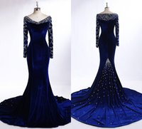 Wholesale Noble Crystal Blue Green - Noble Royal Blue Velvet Evening Dresses With Long Sleeve 2016 Winter Real Photos V-neck Beaded Crystal Mermaid Sweep Train Evening Gowns
