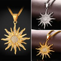 Wholesale Sun Flower Charm Necklaces - U7 New Sun Flower Pendant Necklace Rhinestone Charming Stainless Steel Gold Plated Rope Chain for Women Perfect Party Chic Jewelry GP2434