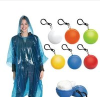 Wholesale rain chains - Spherical Raincoat Plastic Ball Key Chain Disposable Portable Raincoats Rain Covers Travel Tour Trip Rain Coat Portable Adult Ball Raincoat