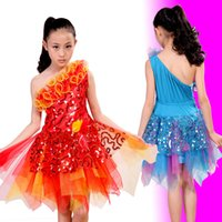 Wholesale Children Instruments Wholesale - wholesale Hot sale Lace sequins princess skirt children Latin dance piano host musical instruments clothing free shopping