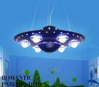 Wholesale Remote Control Flying Ufo - LED UFO Cartoon Children Bedroom Study Boys Sitting Room Dining-Room LED 31W - 40W Ideas Flying Saucer Droplight 110V- 240V LLFA