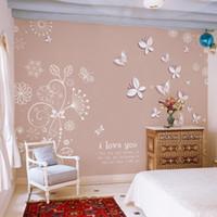 büyük 3d kelebekler toptan satış-Toptan-Kelebek çiçek sinek Duvar Kağıdı rulo Büyük duvar papel de parede 3D stereoskopik duvar 3D Duvar kağıdı duvar sticker Ev Dekorasyon