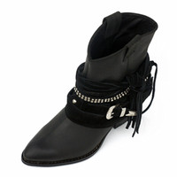 High-End Winter Women Boots Metal Buckle Spike Heels Genuine Leather Ankle Shoes Rivet Fringe Soft Sole Fashion Boots