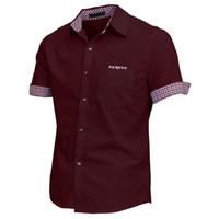 Wholesale Men Button Down Shirts Wholesale - Wholesale- Men Point Collar Short Sleeve Button Cuffs Casual Shirt Burgundy AISA XXL
