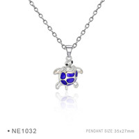 Wholesale 3d Jewelry - Tortoise Pendant Charms Fashion Antique Silver Pendant 3D Plated Collar Body Chain Necklaces for Women Girls Boys Colorful Jewelry
