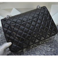Wholesale Blue Quilted Chain Bag - High Quality Women's Classcial Lampskin Leather 33CM Maxi Double Flap Bag Quilted Chain Messenger Bag Designer Bag
