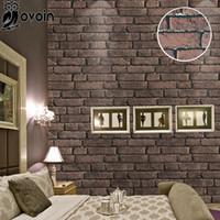 Wholesale red vinyl wallpaper - New Thick Waterproof Vinyl Embossed Rustic Luxury Vintage Red Brick Wall Effect Wallpaper Roll 10M
