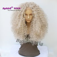 Wholesale brazilian deep curly synthetic hair resale online - Afro Deep curly wig for black women wide bleached knots glueless Lace front wig natural look cheap price brazilian synthetic Hair Lace wig