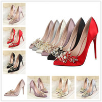 Wholesale Womens Wedge Pumps Shoes - Hight New Sexy Brand Mental Womens Shoes leather Red Bottom High Heels Women Pumps Flower Metal Stiletto 6 colors