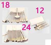 Wholesale Makeup Brushes 18 Pcs - HOT Sale Professional 12 18 24 pcs Makeup Brush Set Tools Make-up Toiletry Kit Wool Brand Make Up Brush Set Case free shipping DHL