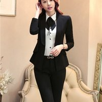 Wholesale Woman Business Pants Suits - 3XL Plus Size Women Fashion Business Suits, Women Blazer with Pant Suit Sets, Office Clothing Blazer Suit Sets