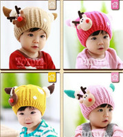 Wholesale Stocking Hats For Babies - 6 colors lovely snowflake Christmas elk knitting wool Knitted cap for baby boys and girls winter and autumn warm Hat