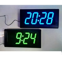Wholesale Large Led Blue Clock - Wholesale-DHL Free 4.0'' Large LED Digital Oversized Wall Clock Modern Design Home Decor 3D Decorative Big Silent Watch RED  BLUE   GREEN