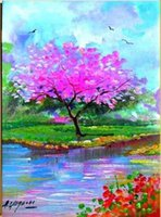 Wholesale Italy Canvas - Framed ALFREDO GRIMALDI ITALY ARTWORK SPRING LANDSCAPE,Pure Hand-painted Art oil painting On Thick Canvas,Multi sizes Free Shipping YDL019