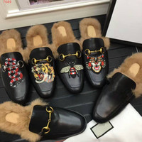Wholesale Leather Comfort Slippers - Top the new high-end custom luxury leather fashionable leisure comfort breathable high quality Animal embroidery villi Men's slippers