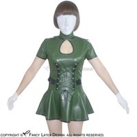 Wholesale Latex Dress Style - Army Green Sexy Fetish Latex Dress With Zipper At Back Fetish Rubber Military Uniform Hot Sales