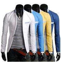 Wholesale Cheap White Blazers Jackets - Wholesale- Cheap ! Cotton thin white fashion 2016 male men's jacket slim fit blazers man casual masculino blazer men suit short coat xxl