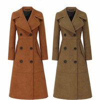 Wholesale Girls Size Trench Coats - Women Trench Coat High Quality Women Double Breasted Long Coats Female Plus Size Outwear Lady Girl Maxi Suede Coat 2017 Women Clothing W39