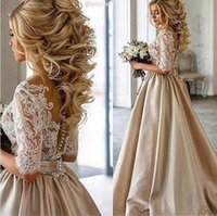 Wholesale Cheap Bow Brooch Pearl - 2016 Vintage Lace Stain Champagne Half Sleeve Prom Dresses Sheer Neck Covered Bottom Plus Size Cheap Dubai Arabic Occasion Gown