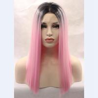 Wholesale Short Heat Resistant Bob Wig - Ombre Pink Synthetic Lace Front Wig Short Bob Straight Wigs 2Tone Black Pink Ombre Glueless Lace Front Wigs Heat Resistant Fiber