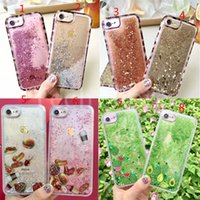 Wholesale Transparent Leopard Iphone Case - For iPhone 6 6S 7 Plus Leopard Hamburgers Coffee Watermelon Avocado Cactus 2 in 1 Soft TPU Side Glitter Liquid Back Case Cover