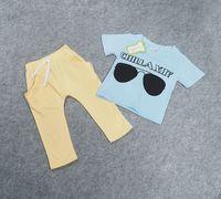 Wholesale Kids Shirts Glasses - INS children outfits little boys cotton letters and glasses short sleeve T-shirt+pants 2pcs sets 2017 new summer kids fashion clothes C0339