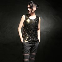 Wholesale Xl Gold Sequin Top - Wholesale- 2016 summer England style stage Costumes gold Sequin design tank tops for men casual slim sleeveless Sequin tank tops men,M-XL,