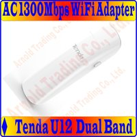Wholesale Gigabit Dual Band Wireless Router - Wholesale- Tenda U12 1300Mbps 11 AC Dual-band Wireless USB3.0 Adapter 2.4G+5GHz Dual Band Adapter Perfect Gigabit WiFi Router Partner Prom-