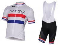 Wholesale Cycling Team Jersey British - 2017 AQUA BLUE Pro TEAM BRITISH CHAMPION WHITE Short Sleeve Cycling Jersey Bike Bicycle Wear + BIB BLACK Shorts Size XS-4XL
