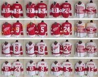Wholesale Ice Hockey Jersey Detroit - Throwback 13 Pavel Datsyuk Jersey Men Detroit Red Wings 9 Gordie Howe 5 Nicklas Lidstrom 24 Chris Chelios Vintage Classic 75th Red White