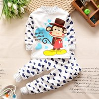 Wholesale Girl S Denim Sets - 2017 Autumn and winter children 's flannel pajamas warm girl boys home service baby coral cashmere cartoonl pajamas