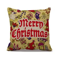Wholesale Christmas Throws Free Shipping - Custom Home Cotton Linen Merry Christmas Presents Throw Pillow Case Cover Room Cushion Case 45Cmx 45Cm Free Shipping &Wholesale