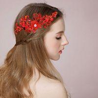 Wholesale Wine Pearls Wholesale - Women Bridal Wine Red Flower Headbands Handmade Simulated Pearls Hairband Butterfly Hair Jewelry Wedding Accessories