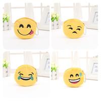 Wholesale storage for purses online - Cartoon Emoticon Purses For Children Gift Originality Yellow QQ Emoji Plush Zipper Coin Purse Many Styles my C R