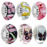 Wholesale Lampwork Beads 925 - BELAWANG 6 Mix Styles Flower&Butterfly Glass Beads 925 Silver Handmade Lampwork Beads Fit Charm Bracelets&Bangles Fashion DIY Jewelry Making