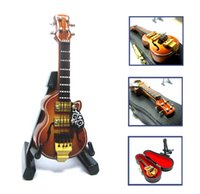 Wholesale Metal Dollhouses - 1 12 scale Acoustic Musical Instrument Dollhouse Miniature Furniture Music room Mini Electric Jazz Guita Music Figure toy with Case Support