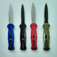 Wholesale Green Carbon Fiber - 10 models Benchmade knife Infidel Mcherry BM 3300 3310 double action D2 D E blade red green blue black carbon fiber handle 1pcs